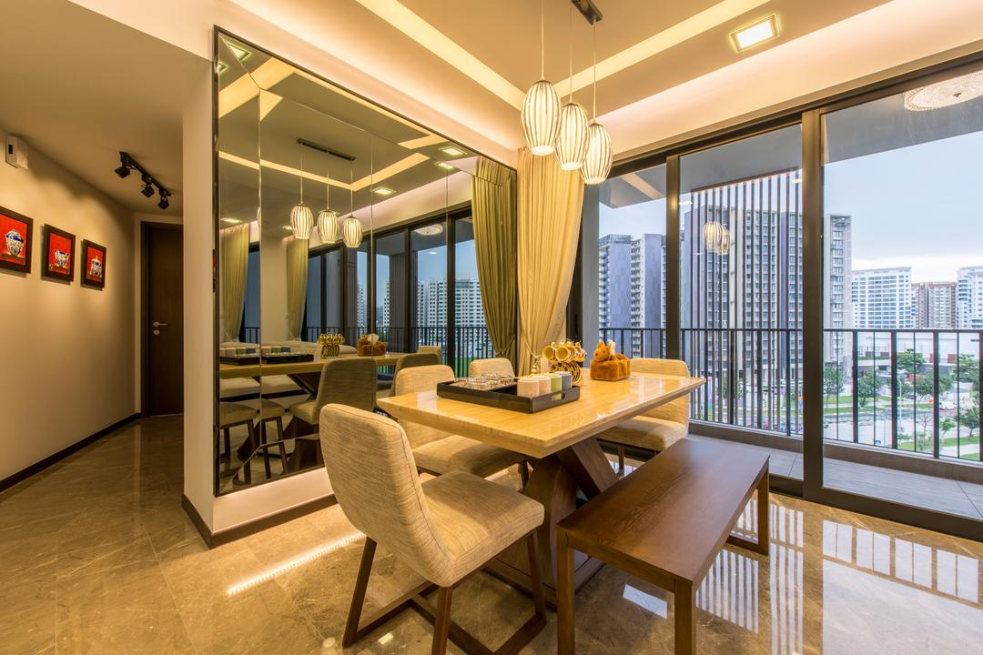 River Isle, Innerspace Design Solutions, Contemporary, Dining Room, Condo, Contemporary Dining Room, False Ceiling, Cove Lighting, Wall Mirror, Balcony, Modern Dining Set, Corridor, Neutral Wall, Marble Flooring, Dining Bench, Chair, Furniture, Indoors, Room, Interior Design, Dining Table, Table
