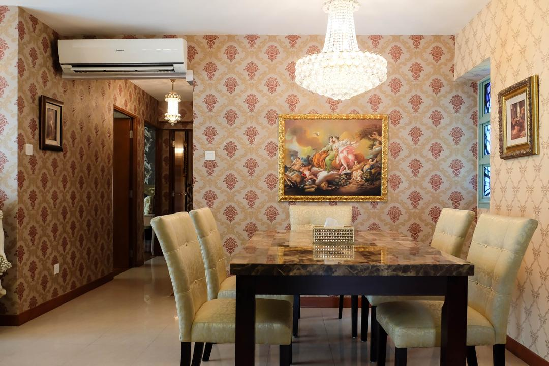 Punggol Drive (Block 641C), Fifth Avenue Interior, Traditional, Dining Room, HDB, Chair, Furniture, Art, Ornament, Tapestry, Indoors, Interior Design, Room, Dining Table, Table