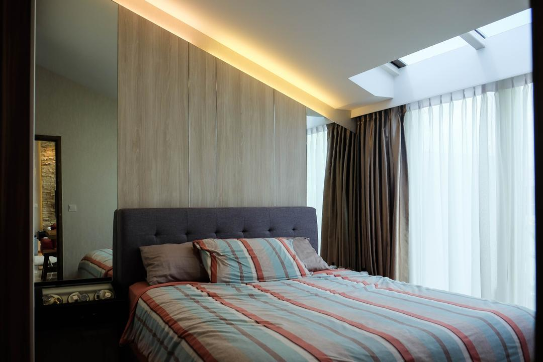 The Nautical, Fifth Avenue Interior, Contemporary, Bedroom, Condo, Sloping Roof, Sloping Ceiling, Light Strips, Soft Illumination, Warm Illumination, Mirror Panel, Wall Mirror, Small Space, Indoors, Interior Design, Room