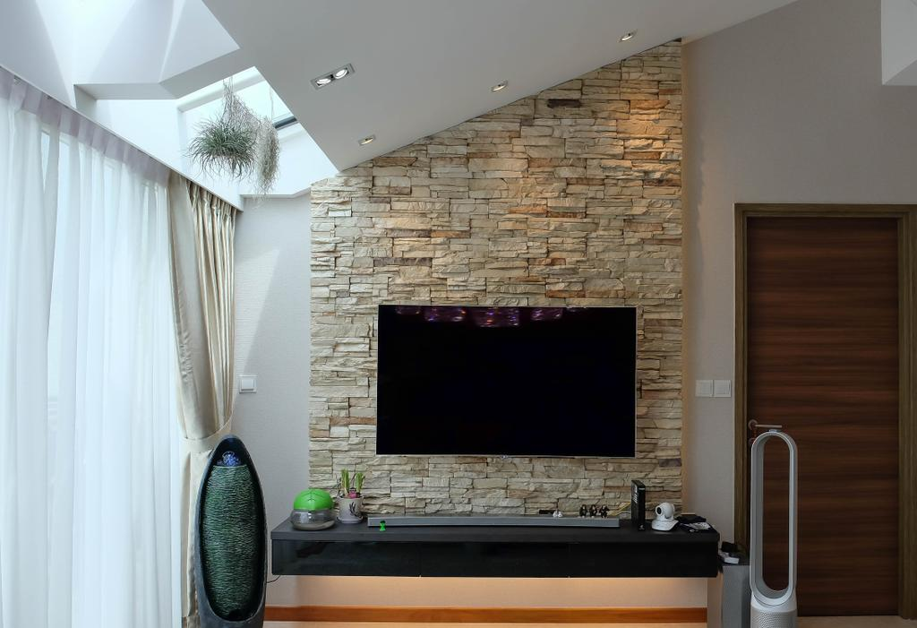 Contemporary, Condo, Living Room, The Nautical, Interior Designer, Fifth Avenue Interior, Craftstone, Resort, Lodge, Rough Wall, Uneven Wall Texture, Wall Texture, Cottage Feel, Resort Theme, Balinese Theme, Flora, Jar, Plant, Potted Plant, Pottery, Vase, Indoors, Interior Design, Fireplace, Hearth, Bathroom, Room, Brick