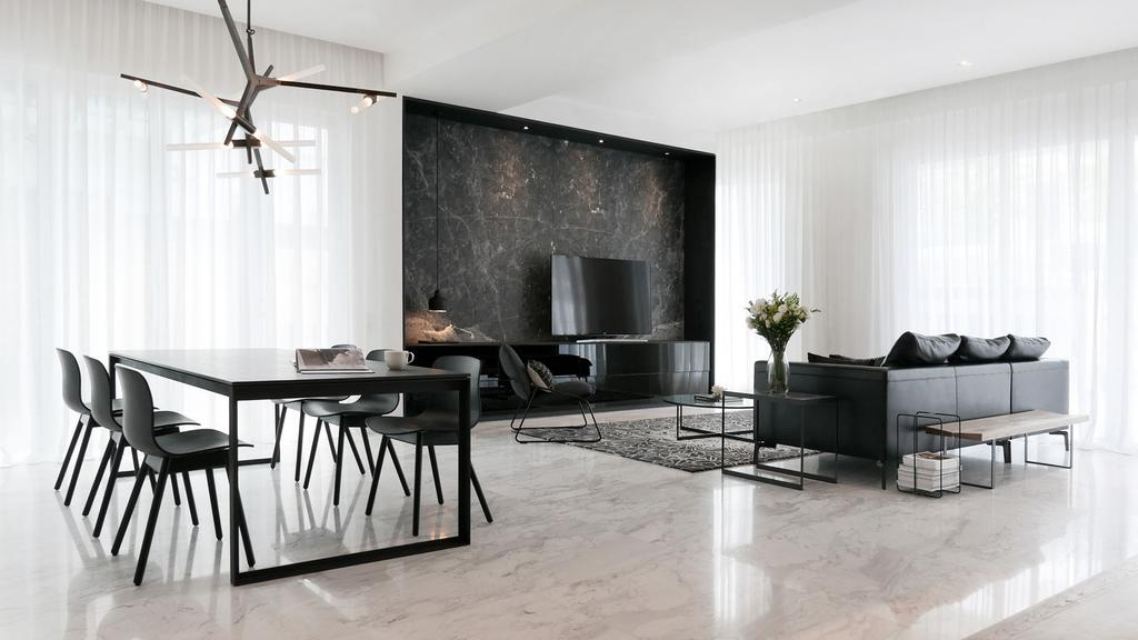 Modern, Condo, Living Room, Villa 7, Architect, 0932 Design Consultants, Minimalistic, Marble Flooring, Expansive, Design, Classy, Hotel Style, Wooden Bench, Walkway, Hallway, Day Curtains, Bright And Airy, Dining Table, Furniture, Table, Chair, HDB, Building, Housing, Indoors, Loft, Sideboard, Room