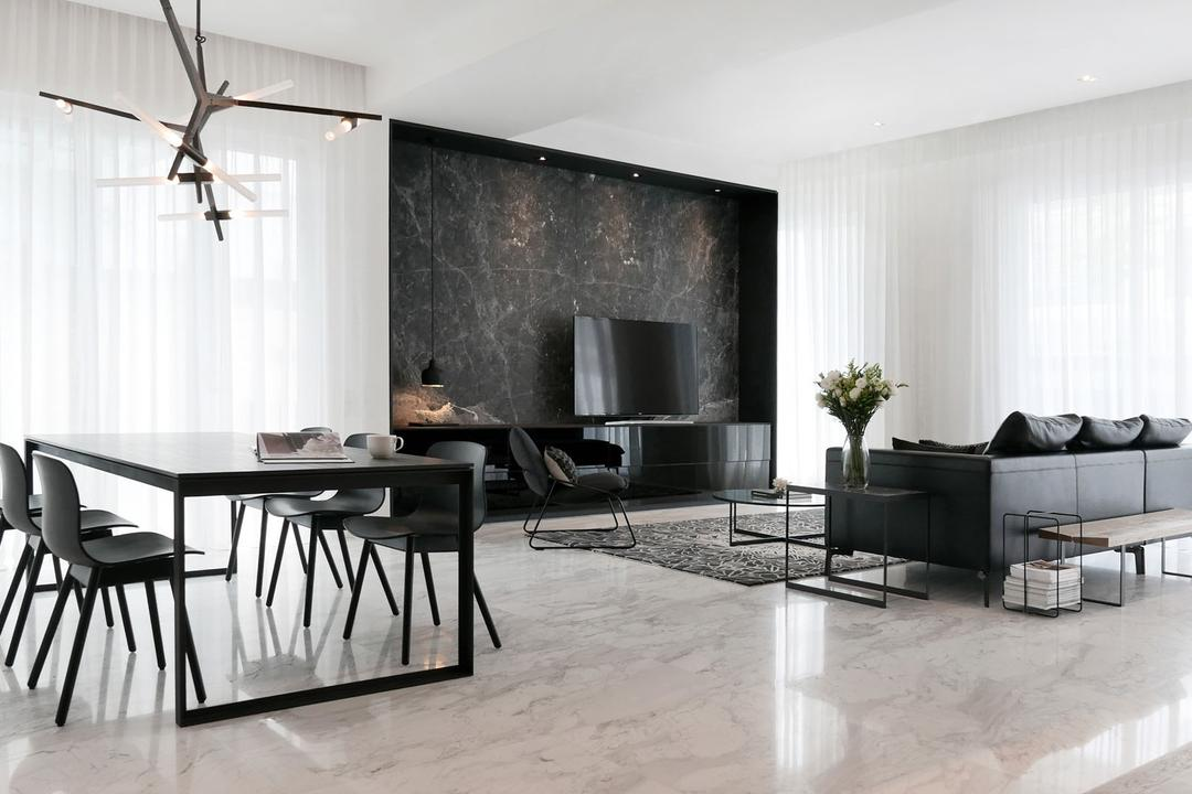 Villa 7, 0932 Design Consultants, Modern, Minimalistic, Living Room, Condo, Marble Flooring, Expansive, Design, Classy, Hotel Style, Wooden Bench, Walkway, Hallway, Day Curtains, Bright And Airy, Dining Table, Furniture, Table, Chair, HDB, Building, Housing, Indoors, Loft, Sideboard, Room