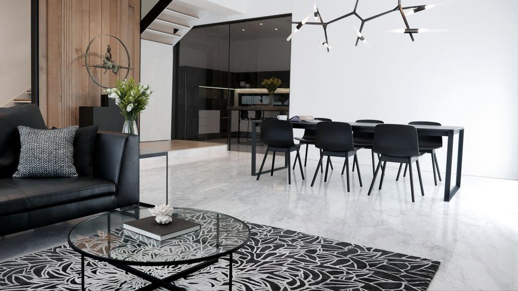 Modern, Condo, Dining Room, Villa 7, Architect, 0932 Design Consultants, Minimalistic, Monochrome, Neutral Shades, Neutral Colours, Grey Cushions, Solid Wood Table, Marble Tiles, Marble Flooring, Couch, Furniture, Dining Table, Table, Flora, Jar, Plant, Potted Plant, Pottery, Vase, Chair, Apartment, Building, Housing, Indoors, Loft