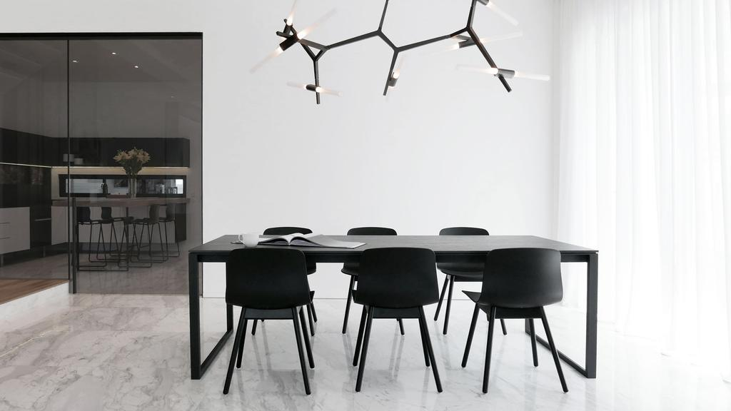 Modern, Condo, Dining Room, Villa 7, Architect, 0932 Design Consultants, Minimalistic, 6 Seater, Dining Chairs, Solid Wood, Simple Dining Table, Dining Table, Furniture, Table, Indoors, Interior Design, Room, Bar Stool, Chair