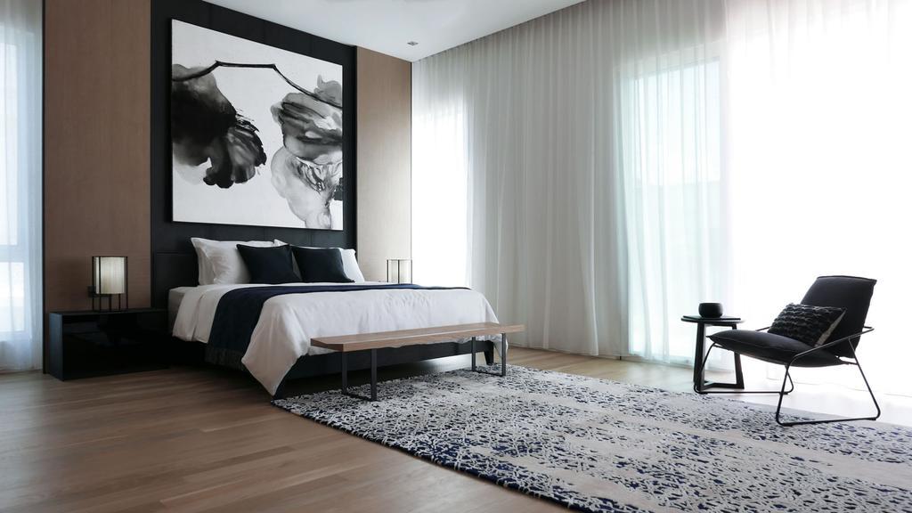 Modern, Condo, Bedroom, Villa 7, Architect, 0932 Design Consultants, Minimalistic, Hotel Concept, Hotel Theme, Arm Chair, Big Rug, Area Rug, Day Curtains, Wall Art, Monochrome, Indoors, Interior Design, Room