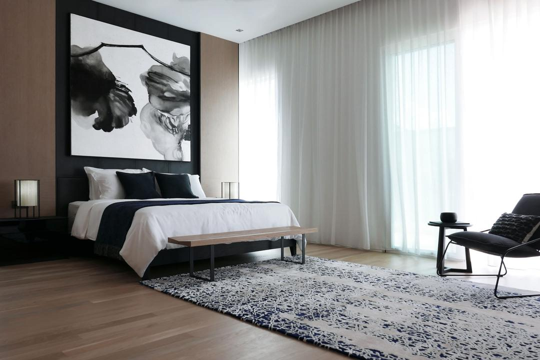 Villa 7, 0932 Design Consultants, Modern, Minimalistic, Bedroom, Condo, Hotel Concept, Hotel Theme, Arm Chair, Big Rug, Area Rug, Day Curtains, Wall Art, Monochrome, Indoors, Interior Design, Room