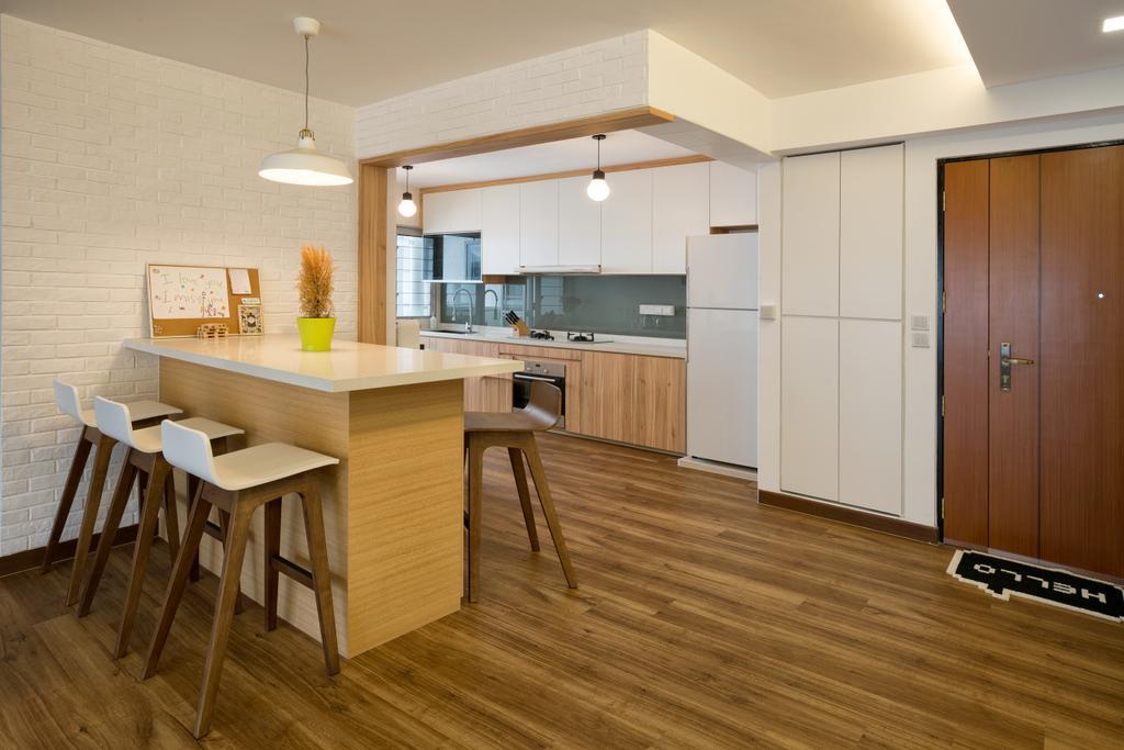 Scandinavian, HDB, Dining Room, Tampines Greenleaf (Block 523C), Interior Designer, Absolook Interior Design, Flooring, Dining Table, Furniture, Table, Hardwood, Wood, Chair