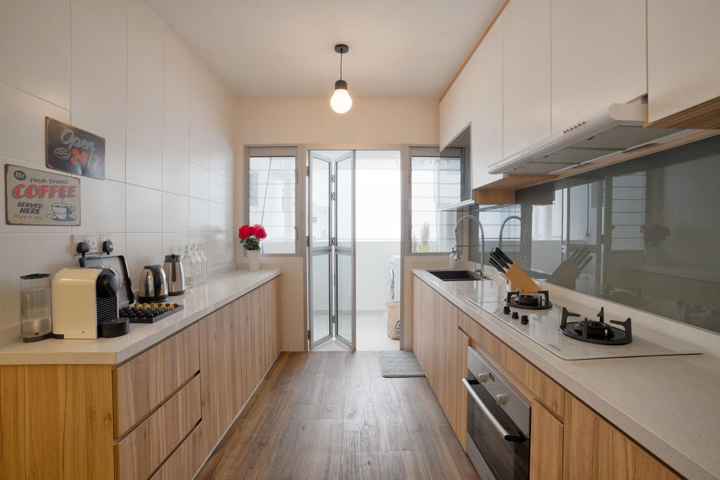 Scandinavian, HDB, Kitchen, Tampines Greenleaf (Block 523C), Interior Designer, Absolook Interior Design, Indoors, Interior Design, Room, Flooring