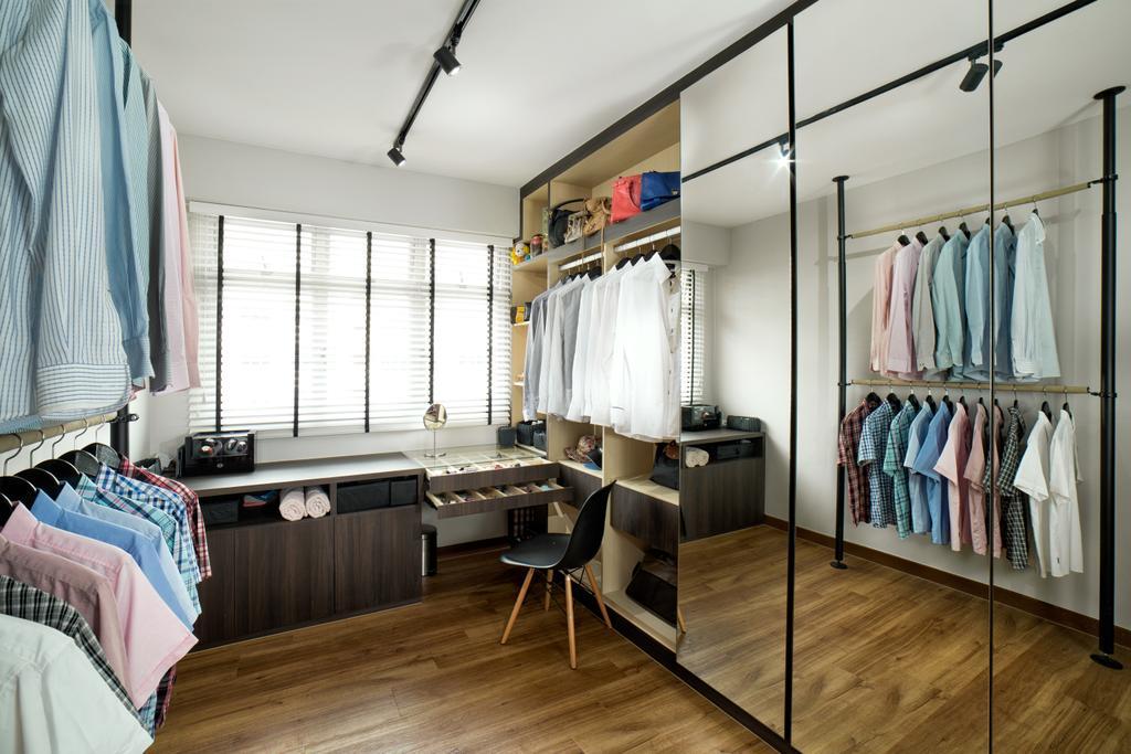 Scandinavian, HDB, Bedroom, Tampines Greenleaf (Block 523C), Interior Designer, Absolook Interior Design, Closet, Furniture, Wardrobe, Hardwood, Wood, Indoors, Interior Design, Room