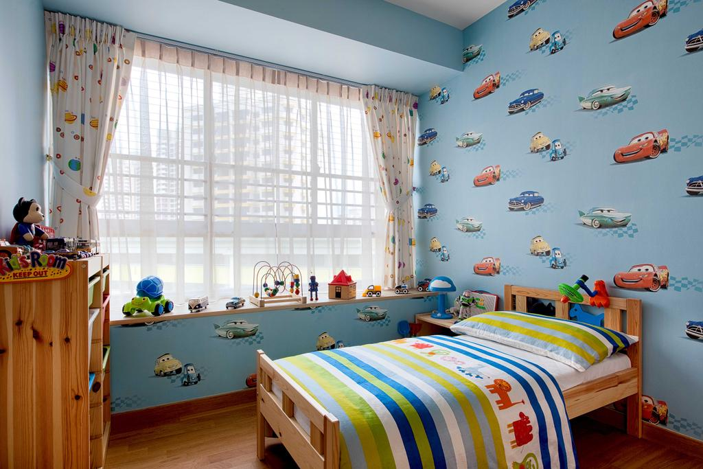 Scandinavian, HDB, Bedroom, The Peak, Interior Designer, Absolook Interior Design, Kids Room, Boys Room, Cartoon Wallpaper, Colourful, Childs Room, Window Ledge, Day Curtain, Bed, Furniture
