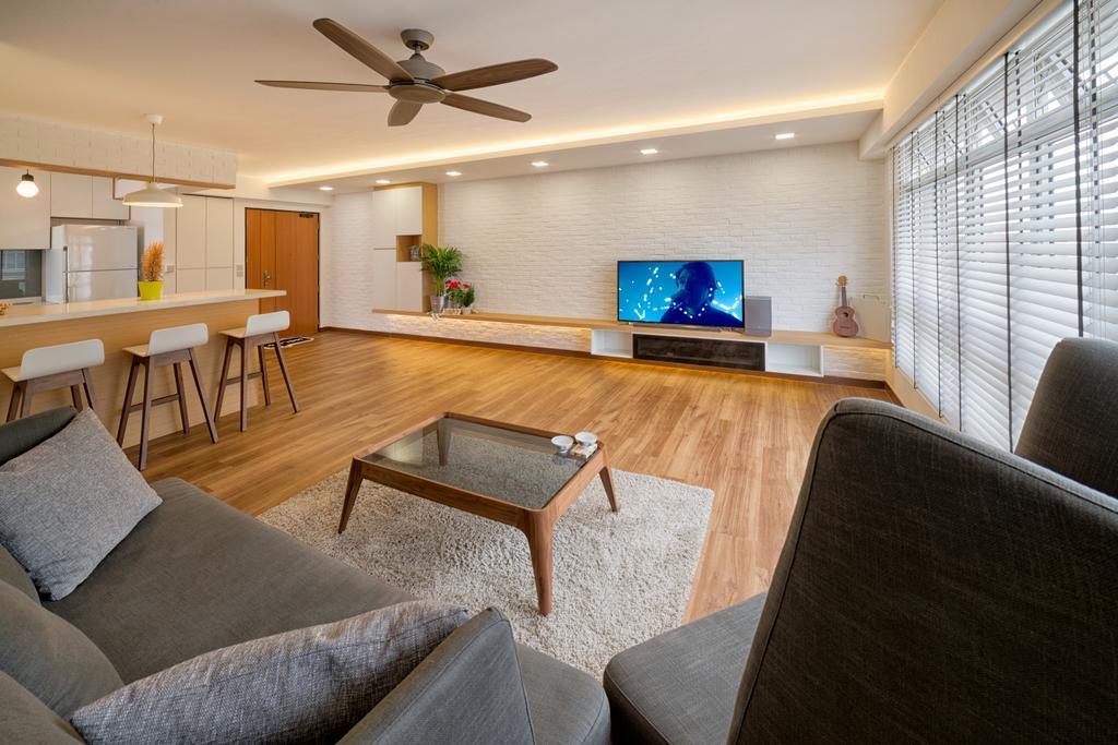 Scandinavian, HDB, Living Room, Tampines Greenleaf (Block 523C), Interior Designer, Absolook Interior Design, Couch, Furniture, Chair, Indoors, Room