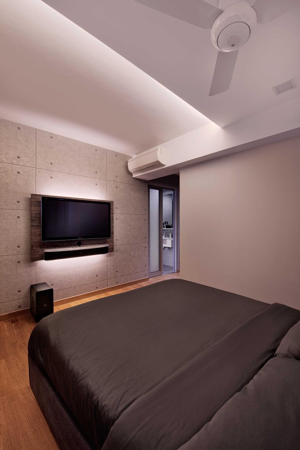 Scandinavian, HDB, Bedroom, The Peak, Interior Designer, Absolook Interior Design, Wall Mount Tv, Metal Panels, Wood Flooring, Electronics, Monitor, Screen, Tv, Television, Building, Housing, Indoors, Loft