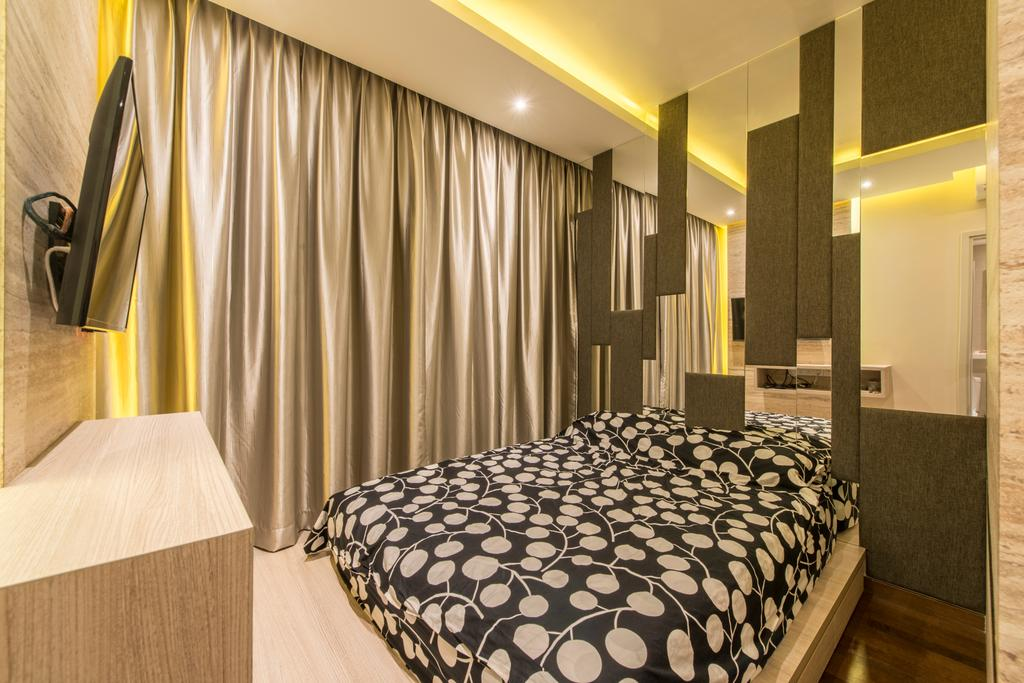 Contemporary, Condo, Bedroom, Sea Esta, Interior Designer, Glamour Concept, Curtains, King Size Bed, Wall Mounted Television, Pattern Bed, Platform, Mirrors, Recessed Lights, Hidden Interior Lights, Indoors, Interior Design