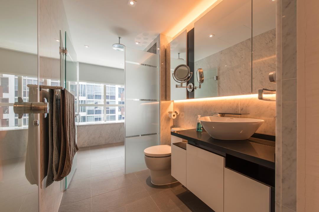 Floridian, Meter Square, Traditional, Bathroom, Condo, Modern Contemporary Bathroom, Marble Tiles, Contemporary Toilet Bowl, Built In Mirror Cabinet, Towel Hanger, Spacious Bathroom, Shower Glass Panel, Vessel Sink, Sink Countertop, Cove Lighting, Downlights, Overhead Shower, Indoors, Interior Design, Room