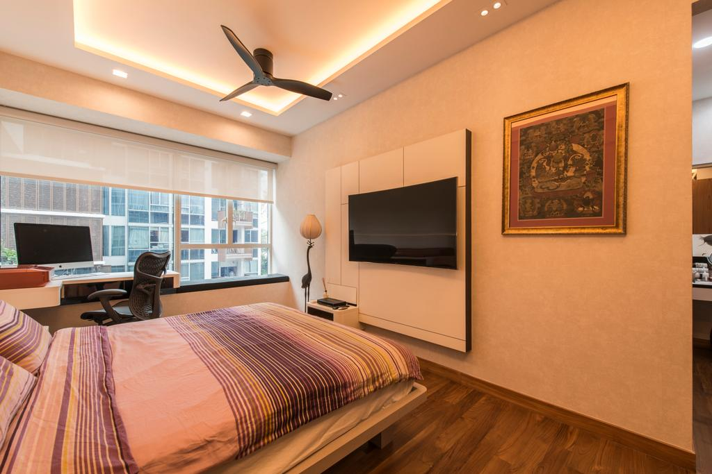 Traditional, Condo, Bedroom, Floridian, Interior Designer, Meter Square, Modern Bedroom, False Ceiling, Cove Lighting, Roll Blinds, Tv Wall Panel, Wall Mounted Tv, Downlights, Wooden Flooring, Wallpaper, Bed, Furniture, Indoors, Room, Art, Painting, Interior Design