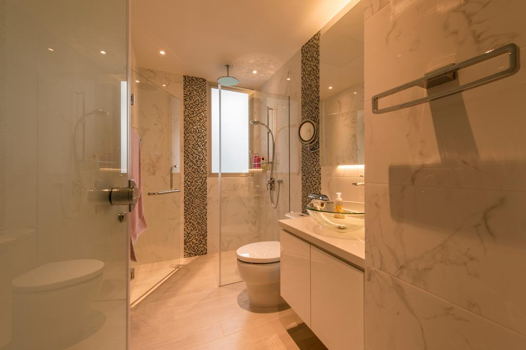 Floridian, Meter Square, Traditional, Bathroom, Condo, Modern Contemporary Bathroom, Marble Tiles, Towel Hanger, Glass Sink, Sink Countertop, Shower Glass Panel, Overhead Shower, Downlights, Mosaic Tiles, Indoors, Interior Design, Room, Toilet