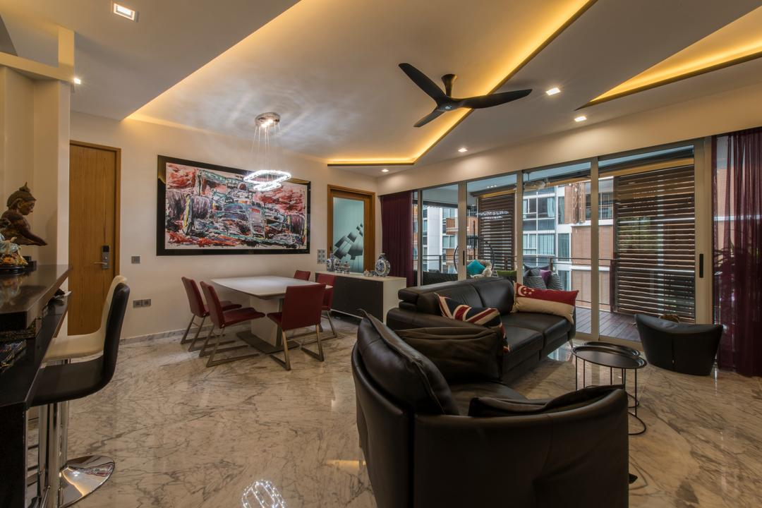 Floridian, Meter Square, Traditional, Living Room, Condo, Modern Contemporary Living Room, Modern Traditional, Marble Flooring, False Ceiling, Downlights, Haiku Fan, Modern Dining Set, Painting Artwork, Crystal Chandelier, Bar Stool, Couch, Furniture, Restaurant
