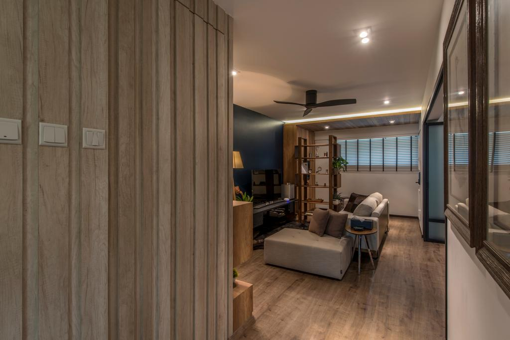 Eclectic, HDB, Living Room, Towner Road (Block 107), Interior Designer, Meter Square, Couch, Furniture, Lighting, Corridor, Indoors, Interior Design