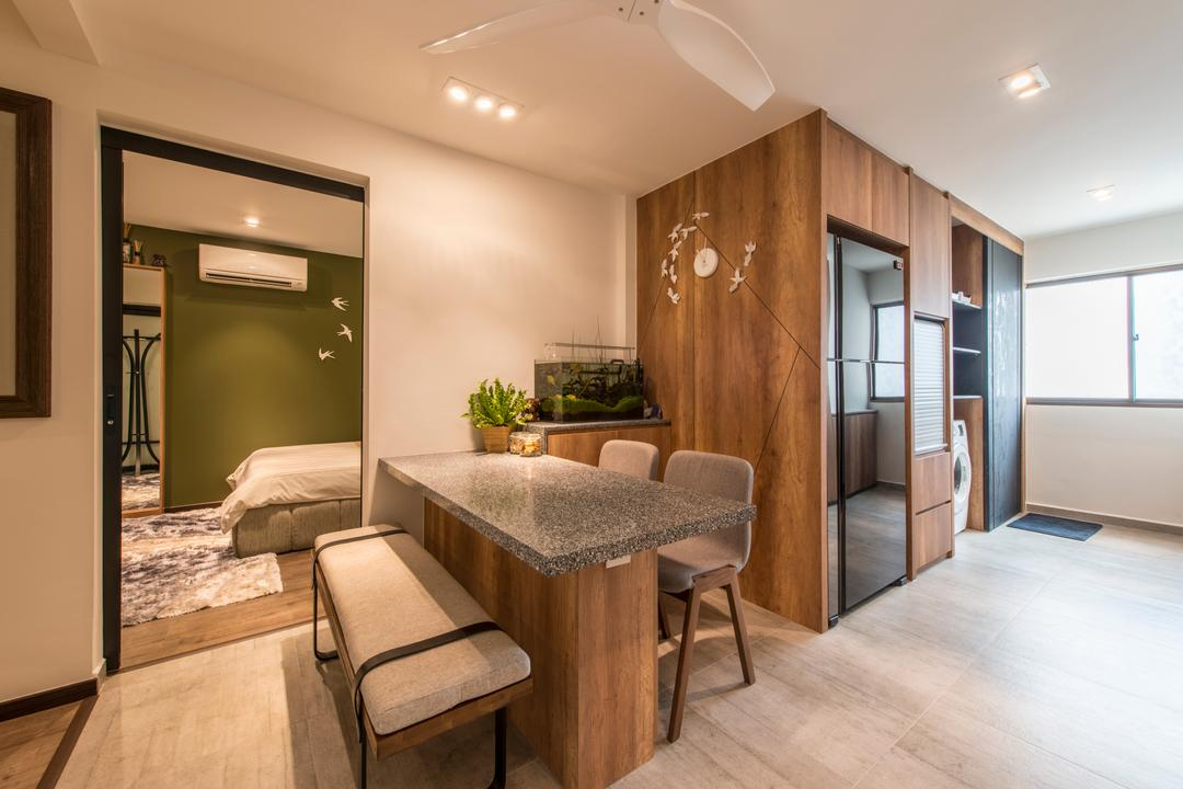 Towner Road (Block 107), Meter Square, Eclectic, Dining Room, HDB, Eclectic Dining Room, Scandinavian Dining Set, Carpentry, Ceiling Fan, Spotlights, Wooden Flooring, Dining Bench, Flying Bird Clock, Chair, Furniture, Flooring, Indoors, Interior Design, Dining Table, Table, Room