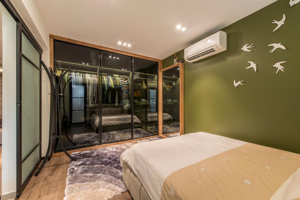 Eclectic, HDB, Bedroom, Towner Road (Block 107), Interior Designer, Meter Square, Scandinavian Bedroom, Black Frame Sliding Door, Walk In Wardrobe, Army Green Wall, Wall Decor, Wooden Flooring, Clothes Hanger, Bed, Furniture, Train, Transportation, Vehicle