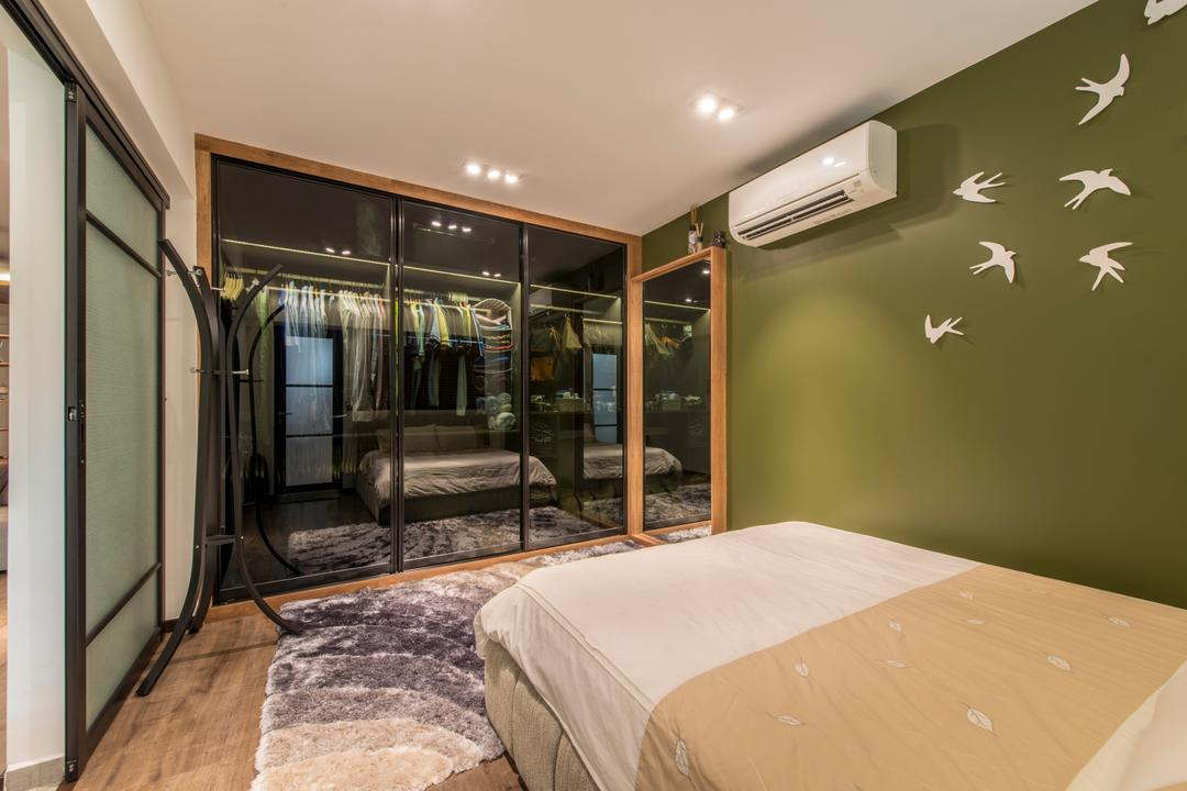 Towner Road (Block 107), Meter Square, Eclectic, Bedroom, HDB, Scandinavian Bedroom, Black Frame Sliding Door, Walk In Wardrobe, Army Green Wall, Wall Decor, Wooden Flooring, Clothes Hanger, Bed, Furniture, Train, Transportation, Vehicle