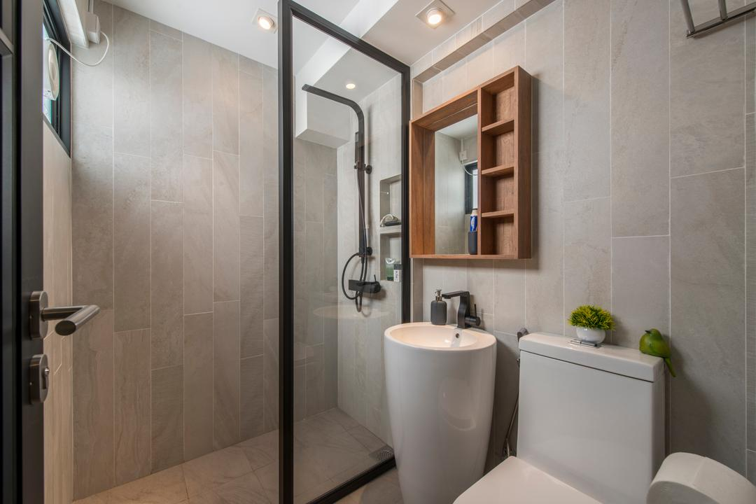 Towner Road (Block 107), Meter Square, Eclectic, Bathroom, HDB, Contemporary Bathroom, Shower Screen, False Ceiling, Downlights, Wooden Mirror Cabinet, Indoors, Interior Design, Room