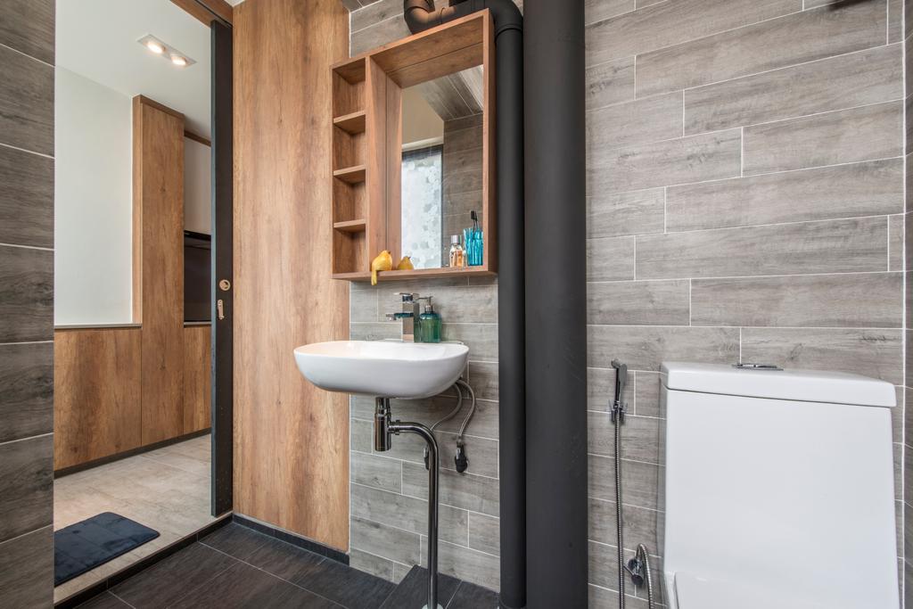 Eclectic, HDB, Bathroom, Towner Road (Block 107), Interior Designer, Meter Square, Contemporary Bathroom, Wooden Mirror Cabinet, Indoors, Interior Design, Room