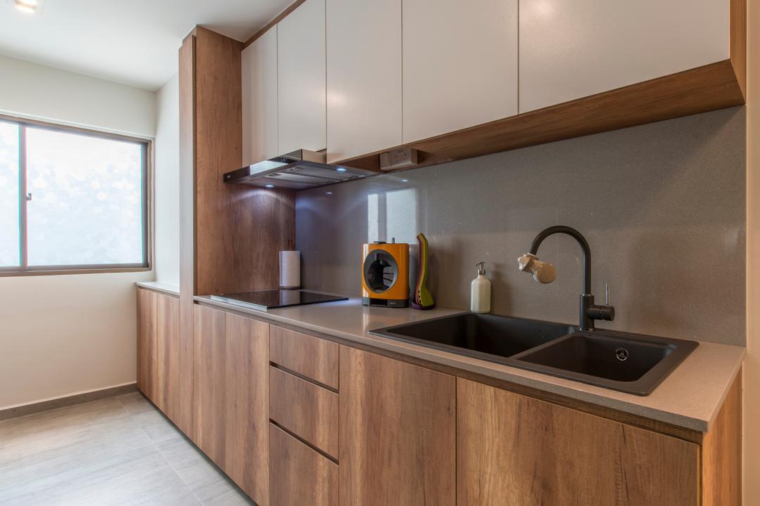 Towner Road (Block 107), Meter Square, Eclectic, Kitchen, HDB, Modern Scandinavian Kitchen, Carpentry, Sink Countertop, Built In Cupboard, Downlights, Sink, Indoors, Interior Design, Room, Tap