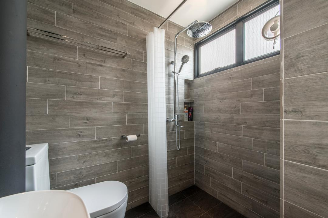 Towner Road (Block 107), Meter Square, Eclectic, Bathroom, HDB, Contemporary Toilet Bowl, Overhead Shower, Shower Curtain, Sink, Indoors, Interior Design, Room