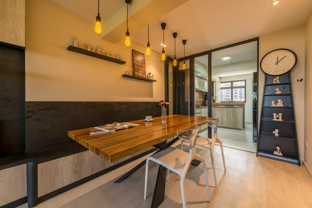 Dover Road (Block 1), Meter Square, Industrial, Dining Room, HDB, Industrial Dining Room, Industrial Dining Set, Ikea Pendel Clock, Industrial Pendant Lighting, Wall Shelf, Black Frame Sliding Door, Carpentry, Ikea, Dining Table, Furniture, Table