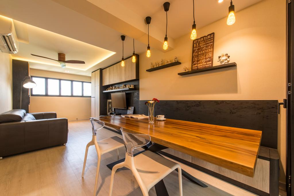 Industrial, HDB, Dining Room, Dover Road (Block 1), Interior Designer, Meter Square, Dining Table, Furniture, Table, Chair, Plywood, Wood, Indoors, Interior Design, Room