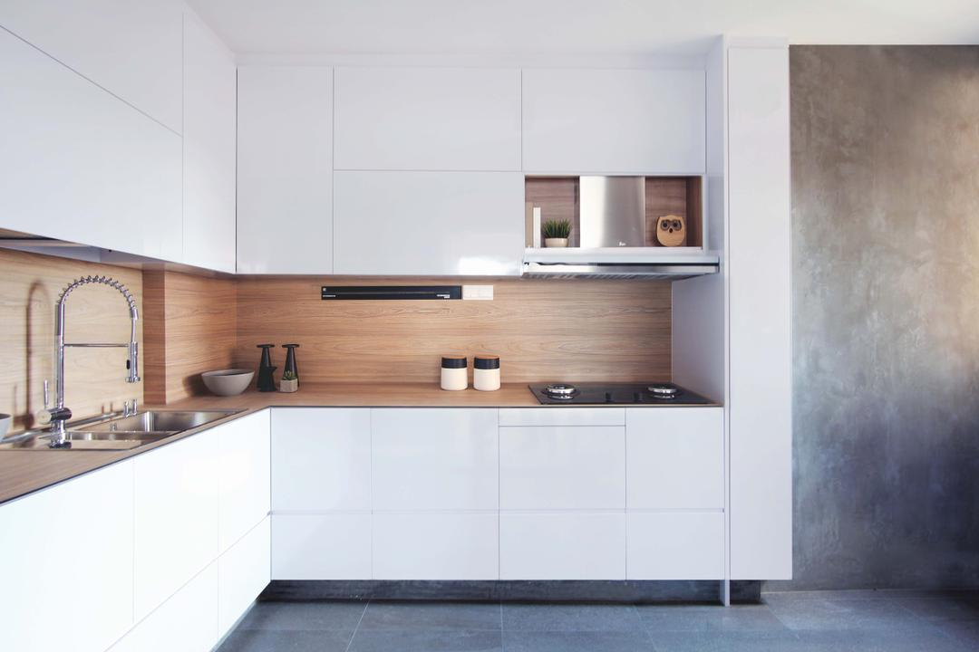 Potong Pasir, FOMA Architects, Minimalistic, Kitchen, HDB, Minimalist Kitchen, Built In Cupboard, White Cupboard, Cement Wall, White Cabinet, Cement Screed, Screeding, Wooden Backsplash, Wood Backsplash, Backsplash, Kompac Plus, Sleek Kitchen, Sleek Design, Indoors, Interior Design, Room, Shelf