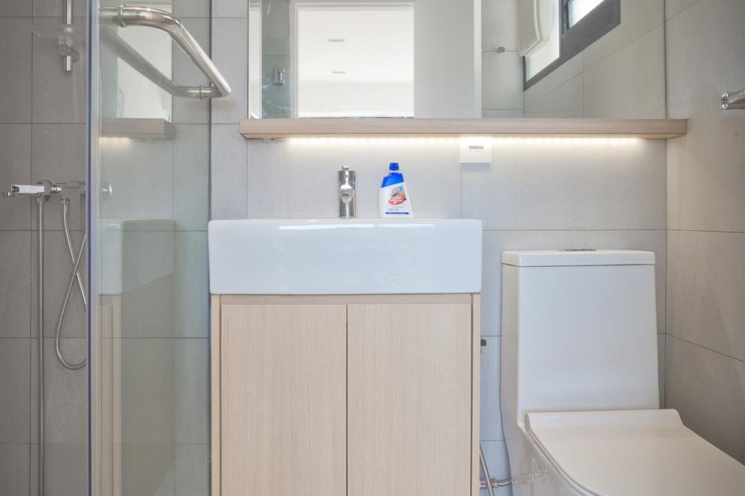 Potong Pasir, FOMA Architects, Minimalistic, Bathroom, HDB, Modern Bathroom, Boxy Vessel Sink, Sink Countertop, Downlights, Mirror Cabinet, Shower Screen, Vanity Cabinet, Simple Design