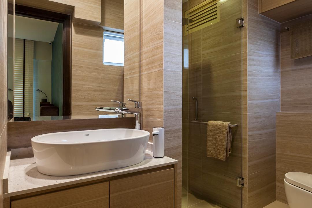 Bukit Batok Central (Block 120), The Interior Lab, Modern, Bathroom, HDB, Modern Contemporary Bathroom, Vessel Sink, Sink Countertop, Downlights, Built In Mirror, Indoors, Interior Design, Room