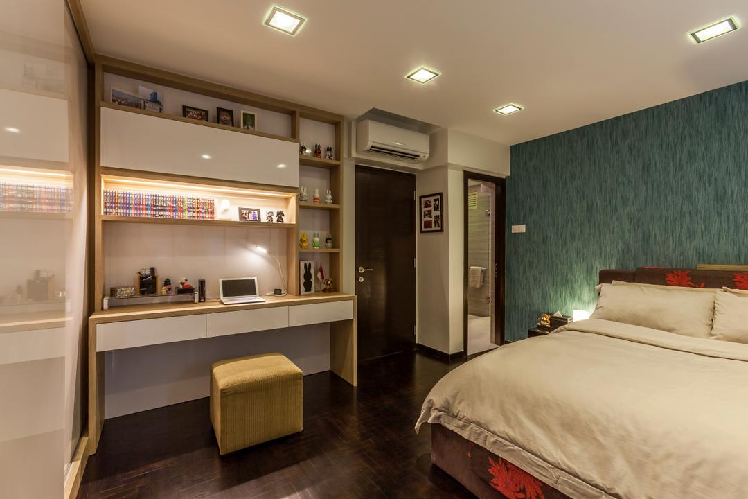 Bukit Batok Central (Block 120), The Interior Lab, Modern, Bedroom, HDB, Modern Bedroom, Wallpaper, Furniture, Ottoman, Bed, Indoors, Interior Design