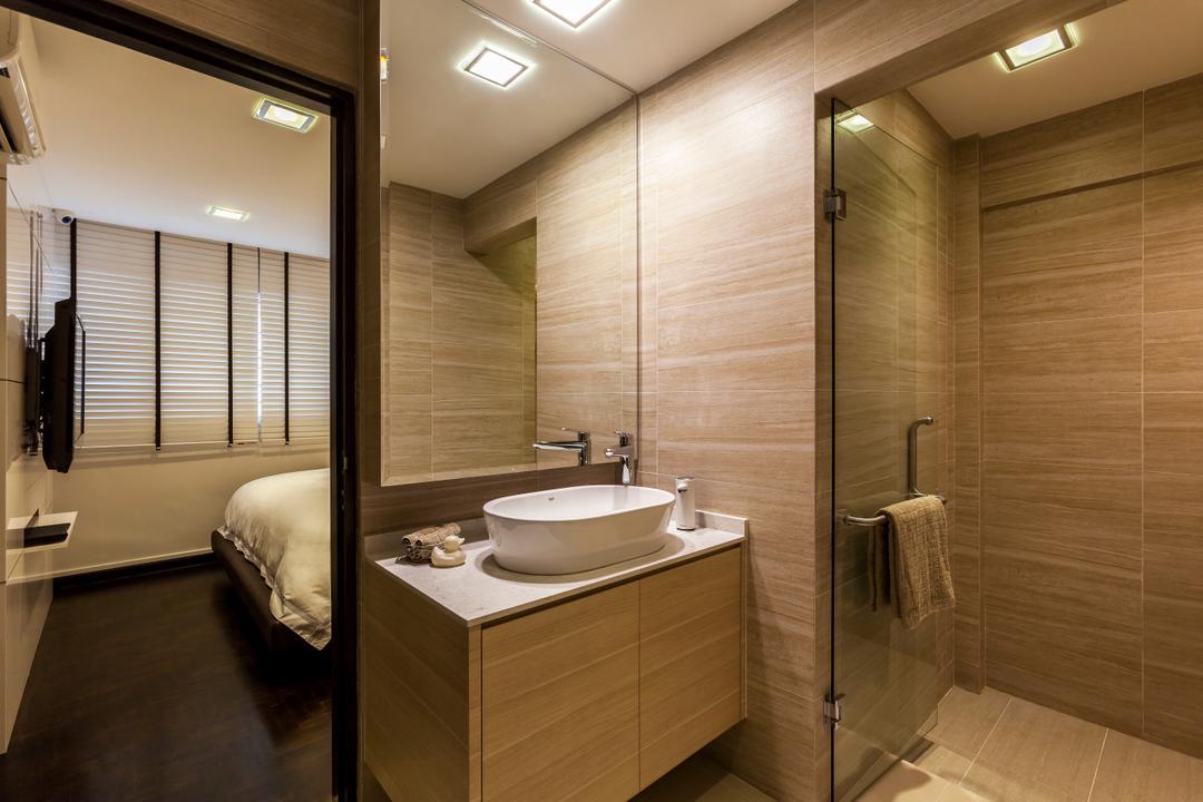 Bukit Batok Central (Block 120), The Interior Lab, Modern, Bathroom, HDB, Vessel Sink, Sink Countertop, Downlights, Modern Contemporary Bathroom, Built In Mirror, Indoors, Interior Design, Room, Bedroom