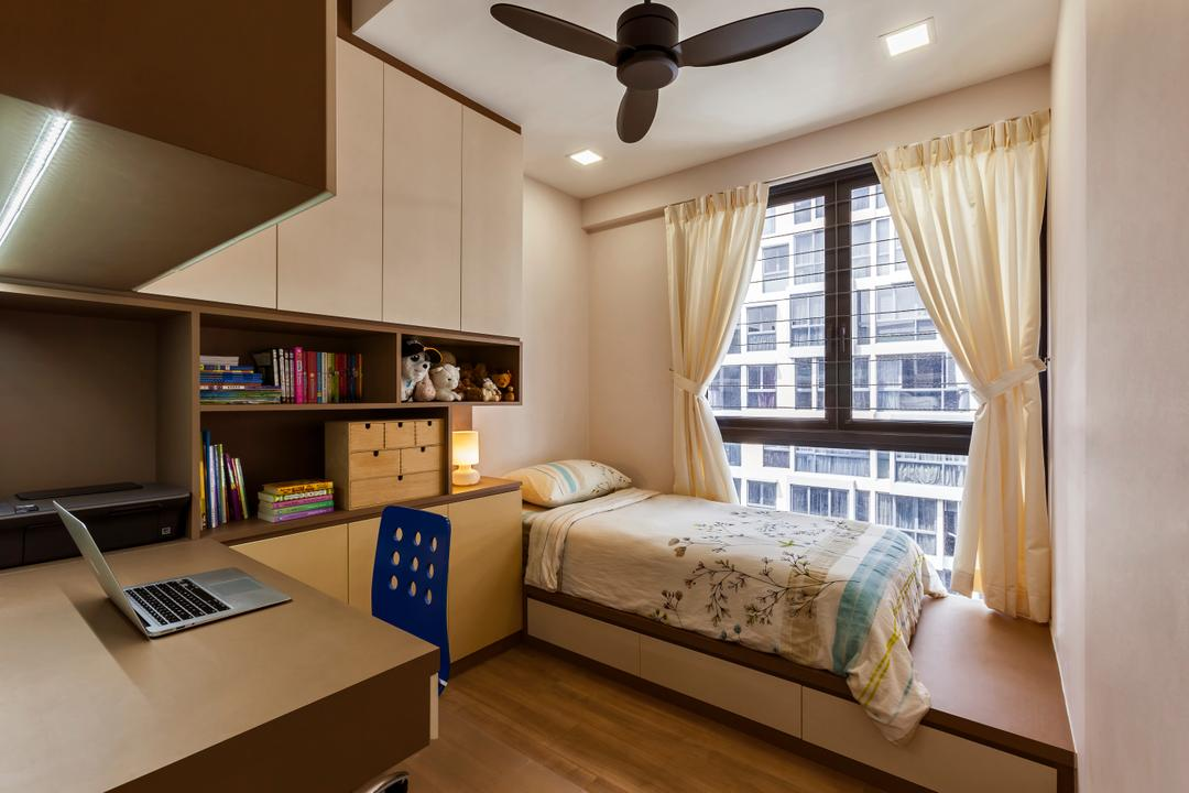 The Rainforest, The Interior Lab, Contemporary, Bedroom, Condo, Modern Bedroom, Built In Study Table, Built In Cupboard, Built In Shelves, Platform Bed, Curtain, Downlights, Ceiling Fan, Bookcase, Furniture, Book, Propeller, Indoors, Interior Design, Room, Lighting