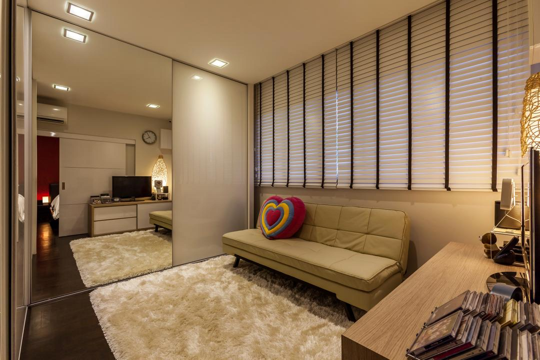 Bukit Batok Central (Block 120), The Interior Lab, Modern, Bedroom, HDB, Walk In Wardrobe, Built In Sliding Wardrobe, Blinds, Sofa Bed, Tv Console Table, Sliding Door, Downlights, Rug, Wooden Flooring, Indoors, Interior Design