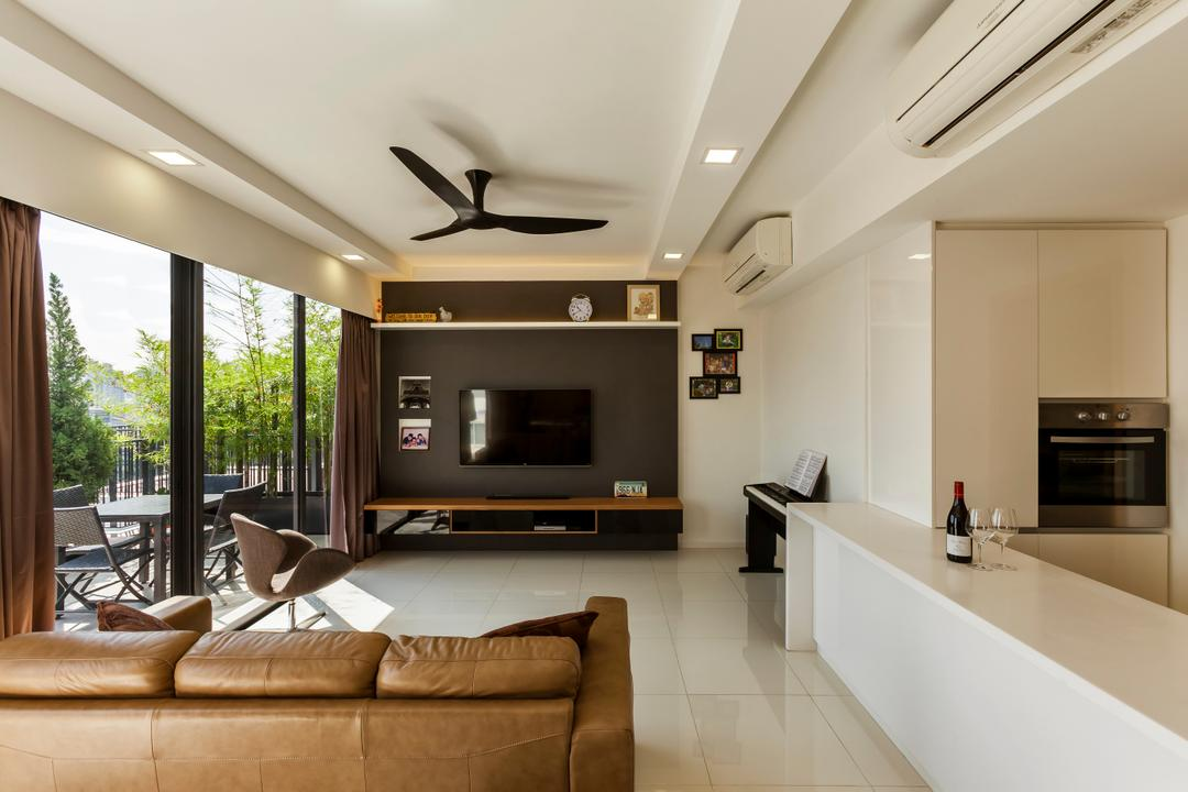The Rainforest, The Interior Lab, Contemporary, Living Room, Condo, Modern Contemporary Living Room, Haiku Fan, Downlights, Sliding Door, Outdoor Balcony, Contemporary Outdoor Furniture, False Ceiling, Floating Console, Tv Wall Panel, Wall Mounted Tv, Couch, Furniture, Indoors, Interior Design, Electronics, Entertainment Center, Room