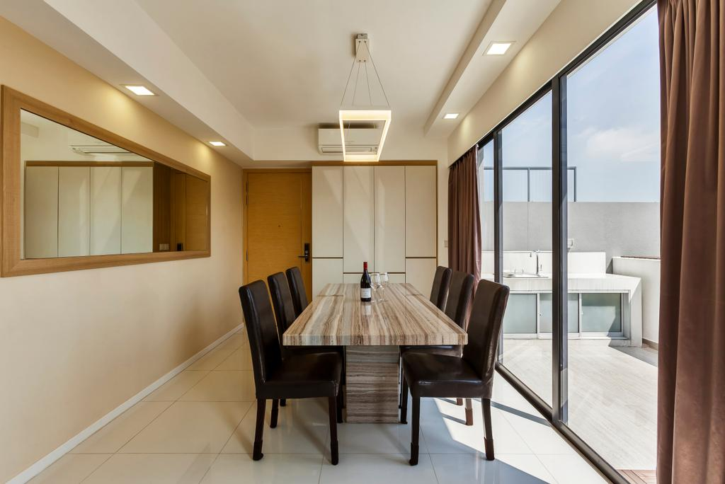 Contemporary, Condo, Dining Room, The Rainforest, Interior Designer, The Interior Lab, Modern Dining Room, Wall Mirror, Sliding Door, Outdoor Balcony, False Ceiling, Downlights, Modern Dining Set, Chair, Furniture, Dining Table, Table, Indoors, Interior Design, Room, Conference Room, Meeting Room
