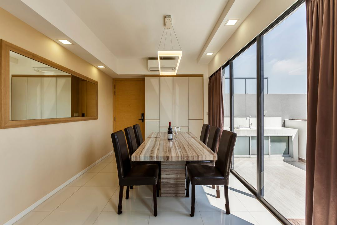 The Rainforest, The Interior Lab, Contemporary, Dining Room, Condo, Modern Dining Room, Wall Mirror, Sliding Door, Outdoor Balcony, False Ceiling, Downlights, Modern Dining Set, Chair, Furniture, Dining Table, Table, Indoors, Interior Design, Room, Conference Room, Meeting Room
