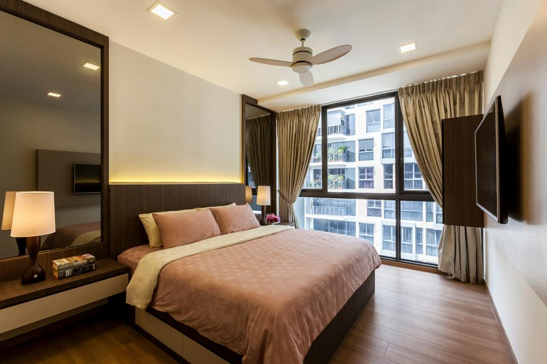 The Rainforest, The Interior Lab, Contemporary, Bedroom, Condo, Modern Bedroom, Built In Side Table, Table Lamp, Wall Mounted Tv, False Ceiling, Downlights, Ceiling Fan, Bed Wall Panel, Appliance, Electrical Device, Oven, Indoors, Interior Design, Room, Lamp