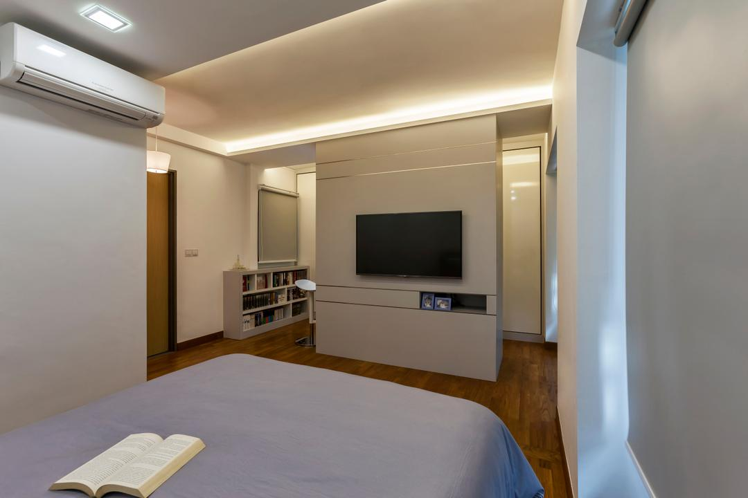 SkyVille @ Dawson (Block 86), The Interior Lab, Contemporary, Bedroom, HDB, Modern Bedroom, Cove Lighting, Downlights, Wooden Flooring, Tv Wall Divider, Mounted Wall Tv, Indoors, Room