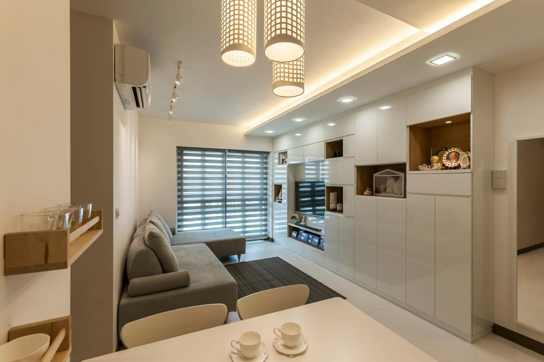 SkyVille @ Dawson (Block 86), The Interior Lab, Contemporary, Living Room, HDB, Modern Contemporary Living Room, False Ceiling, Cove Lighting, Sectional Sofa, Multi Pendant Lighting, Downlights, Track Light, Light Fixture, Couch, Furniture, Sink, Toilet