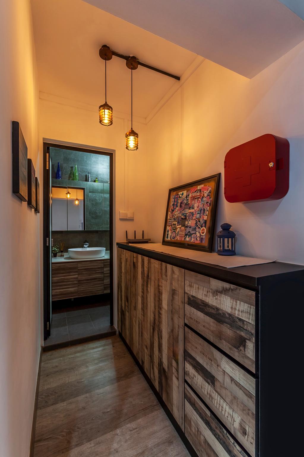 Industrial, HDB, Bedroom, Jurong West Street 81 (Block 860), Interior Designer, The Interior Lab, Industrial Bedroom, Industrial Dresser, Industrial Lighting, Wooden Flooring, Bathroom, Indoors, Interior Design, Room, Art