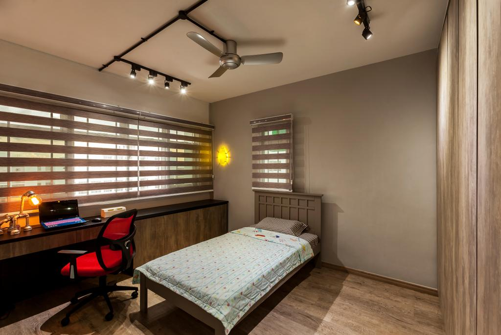 Industrial, HDB, Bedroom, Jurong West Street 81 (Block 860), Interior Designer, The Interior Lab, Industrial Bedroom, Track Light, Blinds, Built In Wardrobe, Swivel Chair, Built In Study Table, Chair, Furniture, Bed