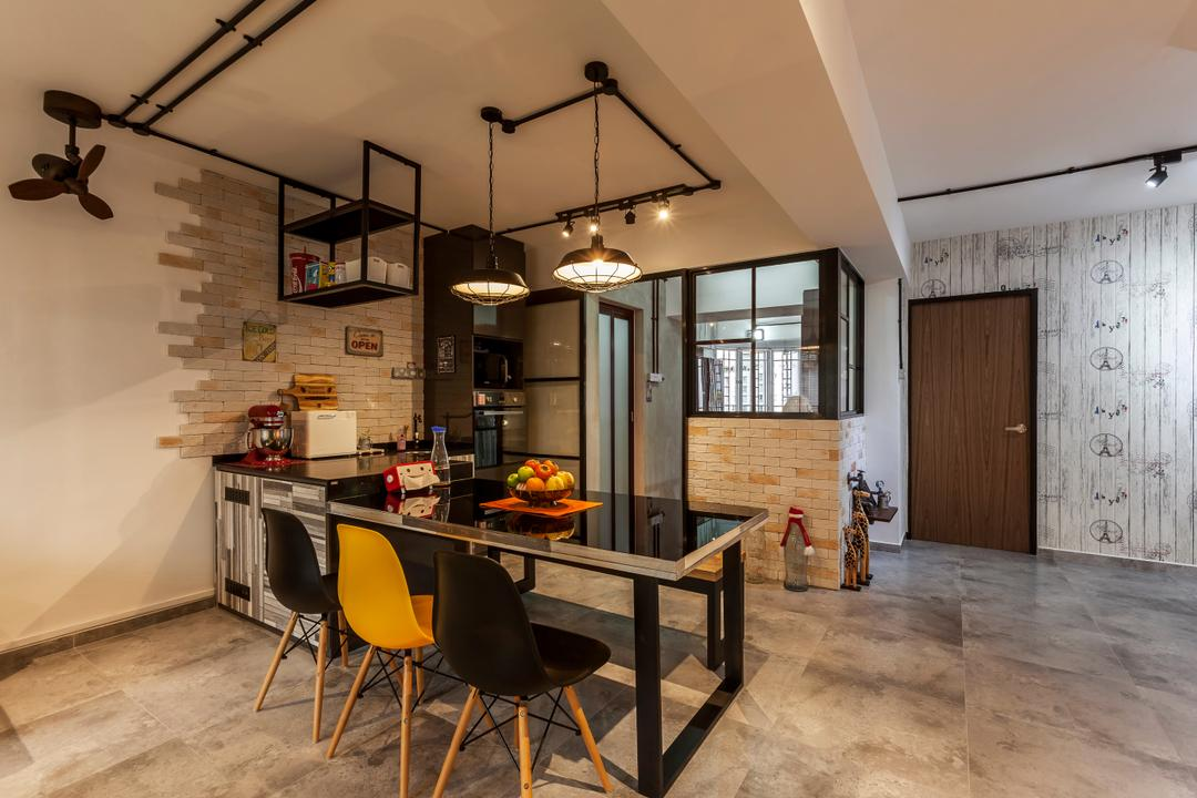 Jurong West Street 81 (Block 860), The Interior Lab, Industrial, Dining Room, HDB, Industrial Living Room, Dsw Chair, Track Light, Industrial Shade Lighting, Brick Wall, Mini Ceiling Fan, Chair, Furniture, Indoors, Interior Design, Room, Building, Housing, Loft, Dining Table, Table