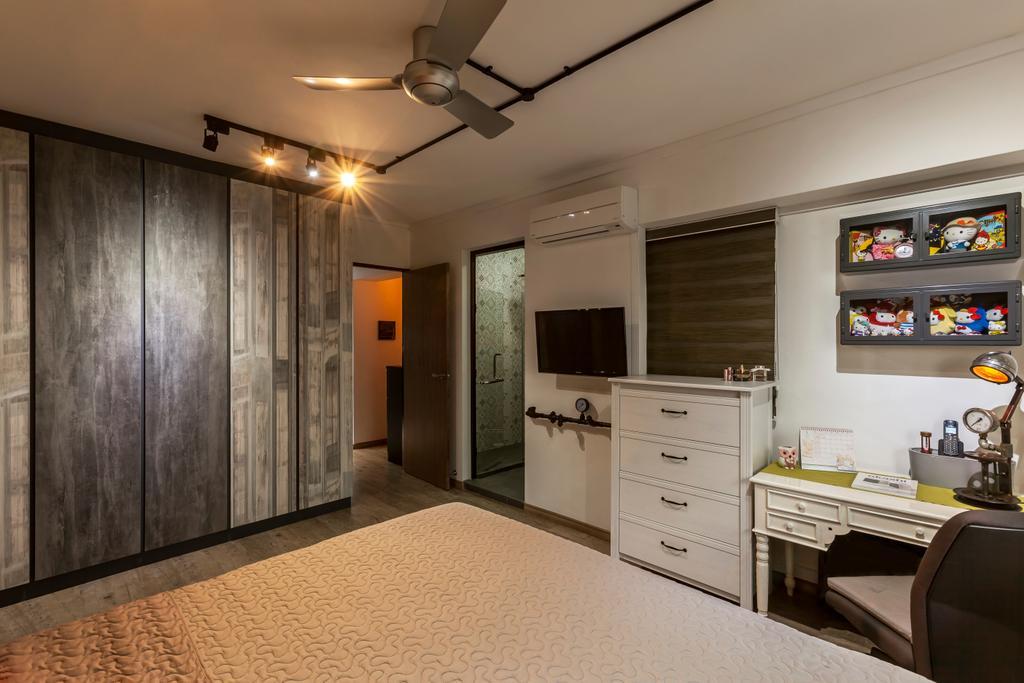 Industrial, HDB, Bedroom, Jurong West Street 81 (Block 860), Interior Designer, The Interior Lab, Industrial Bedroom, Kdk Ceiling Fan, Track Light, White Dresser, Built In Wardrobe, Traditional Study Table