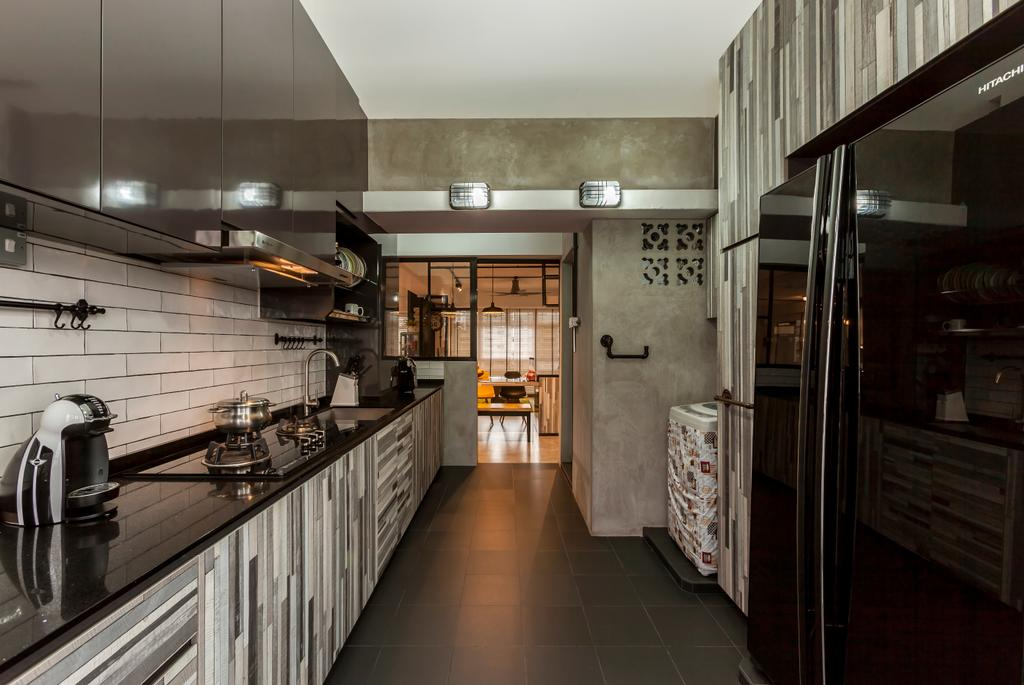 Industrial, HDB, Kitchen, Jurong West Street 81 (Block 860), Interior Designer, The Interior Lab, Industrial Kitchen, Subway Tiles, Built In Appliances, Built In Cupboard, Laminated Countertop, Carpentry, Stove Countertop