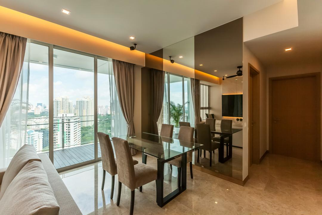 Tribeca by the Waterfront, The Interior Lab, Modern, Dining Room, Condo, Modern Contemporary Dining Room, False Ceiling, Cove Lighting, Downlights, Balcony, Marble Flooring, Sling Curtain, Dining Table, Furniture, Table, Couch, Chair, Indoors, Room, Interior Design